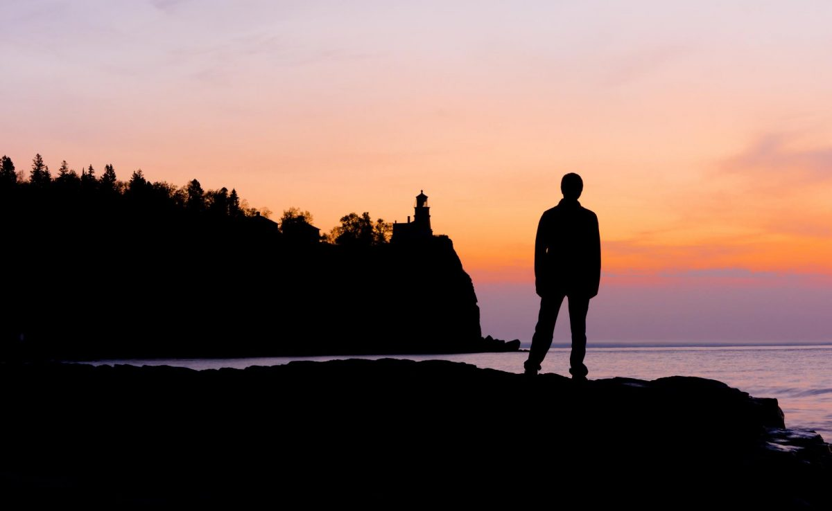 Theodore at Split Rock Lighthouse just before sunrise
